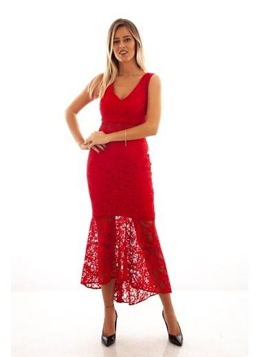 Belamore  Kırmızı Askılı Dantelli Midi Boy Abiye & Mezuniyet Elbisesi 130112.08 Kırmızı